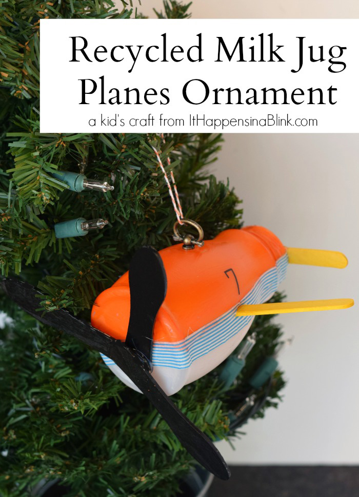 Recycled Milk Jug Planes Ornament |  #PlanesToTheRescue  #ad  |  Recycle a small milk jug into a Planes Ornament kid's craft