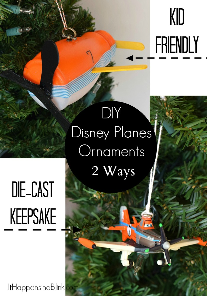 DIY Disney Planes Ornaments | #PlanesToTheRescue #Ad  | This tutorial contains 2 Disney Planes Ornaments ideas. One is for a DIY Die-Cast Ornament, and the other is a fun recycled kid's ornament craft.