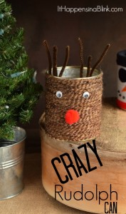 Crazy Rudolph Can | Use yarn scraps and a tin can to make this recycled Christmas craft. Basic crafting supplies help create a funny looking Rudolph!