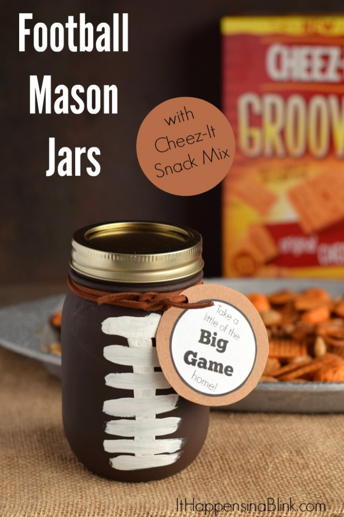 Football Mason Jars with Cheez-It Snack Mix | #BigGameSnacks #ad | Create these football mason jars to send guests home with this delicious snack mix from a game day party!