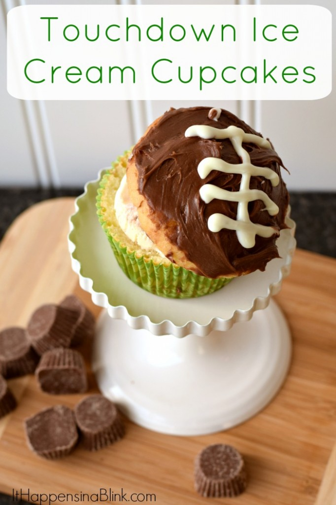 Touchdown Ice Cream Cupcakes | #GameTimeMVP #Ad | Make football themed ice cream cupcakes for a Game Day or football themed party treat!