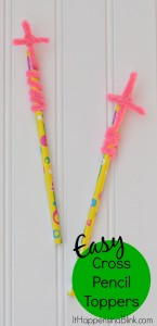 Easy Cross Pencil Toppers | Use a pencil and a fuzzy stick (pipe cleaner) to create this easy craft for Children's Church, Sunday School, or Vacation Bible School