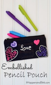 Embellished Pencil Pouch | ItHappensinaBlink.com | Use Tulip Fabric paint to create these pre-made pencil pouches