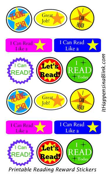Printable Reading Rewards Stickers  |  Get a free printable for these reading reward stickers. Use a Xyron sticker maker to turn ordinary paper to stickers.