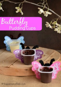 Butterfly Pudding Cups | #SnackPackMixins #ad | Turn Snack Packs into butterflies for a spring treat