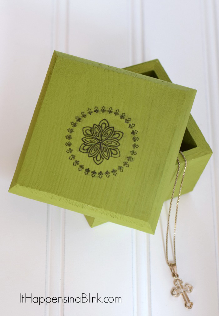 Painted and Stamped Jewelry Gift Box | Use stamp to create an embellishment on top of a chalk painted wood box for gift giving