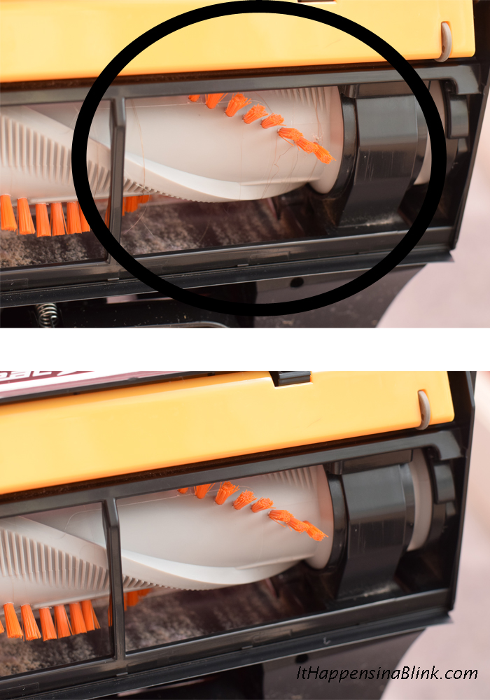 Simple Tips for Cleaning Up Long Hair  |  #ad #CleaningUntangled  |  The  Eureka Brushroll Clean™ with SuctionSeal®  is a handy tool for cleaning up long hair from the carpet