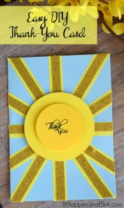 Easy DIY Thank You Card | See the second Sunshine Thank You card. Includes photo tutorial. Make an easy Thank You card without a die cutting machine.