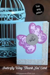 Butterfly Wings Thank You Card   Make this easy DIY Thank You Card without a die cutting machine.