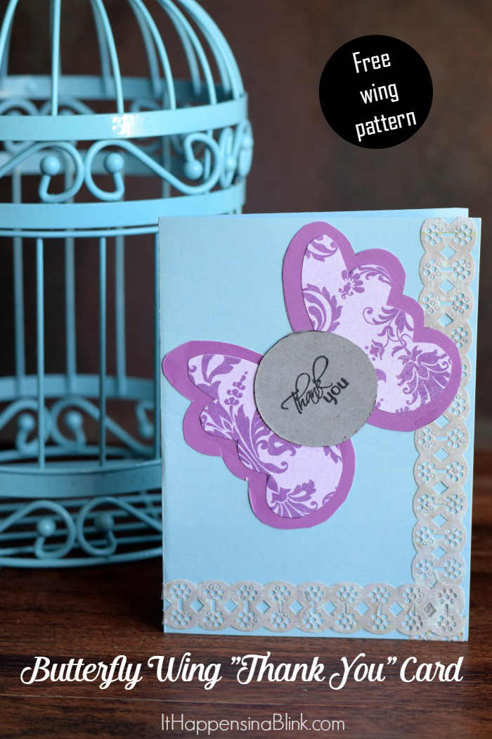 Butterfly Wings Thank You Card  |  Make this easy DIY Thank You Card without a die cutting machine.