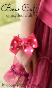 Bow Cuff: a recycled craft | Use a cardboard tube piece and scrap ribbon to create this kid's jewelry piece
