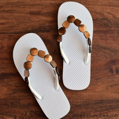 Quick and Easy Beaded Flip Flops | AD #ProjectAmazing | Use flat beads, mounting tape,and cheap flip flops for a fun summer craft