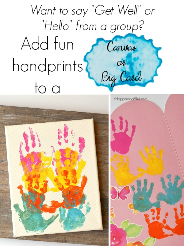 "Many Little Hands Card or Canvas  |  Say ""Get Well"" or ""Hello"" from a group of kids by adding fun, colorful handprints to a large card or canvas."