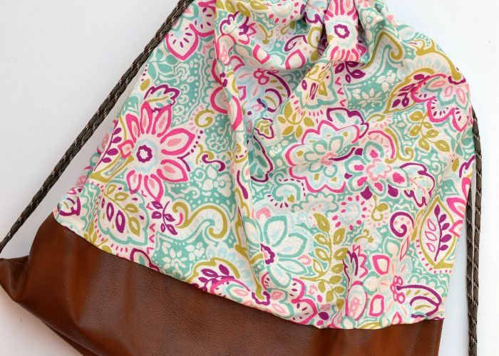 Faux Leather Bottom Drawstring Bag
