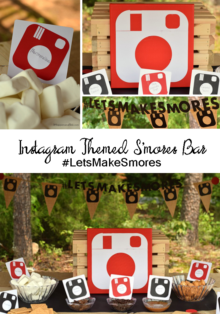 Instagram Themed #LetsMakeSmores Bar | #ad | Use the iconic camera symbol to create a fun themed S'mores Bar
