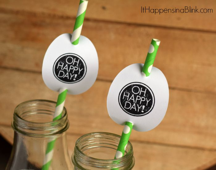 Stamped Straw Toppers | A step by step tutorial to create quick and easy straw toppers for a party.  Fun DIY Craft project idea