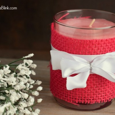 Burlap Wrapped Candle | Use colored burlap and ribbon to decorate a glass candle