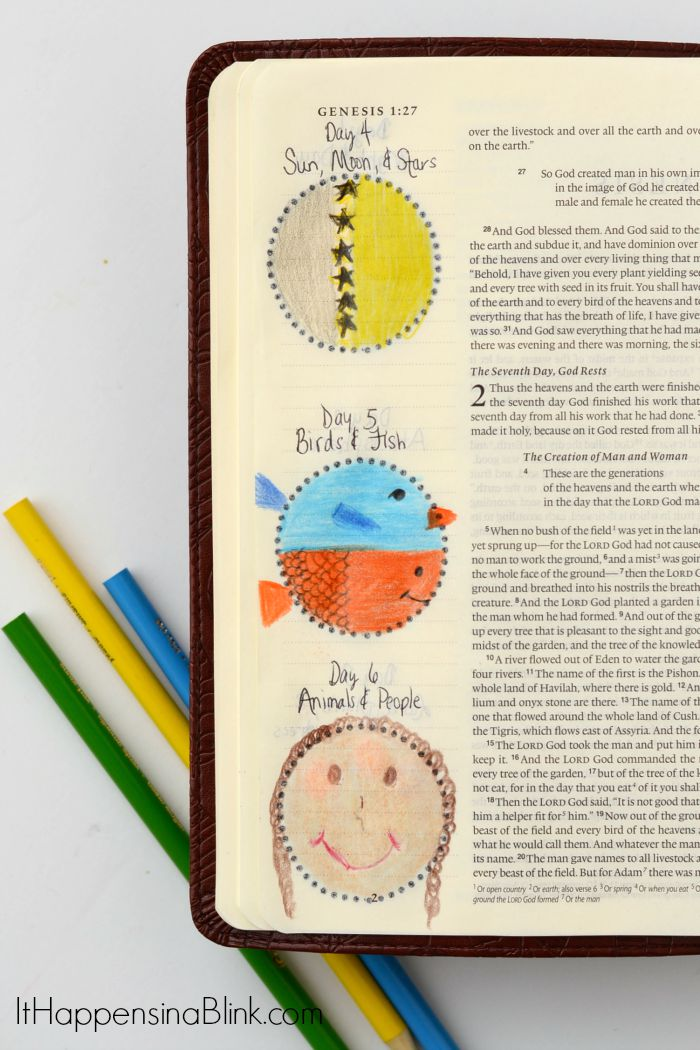 Simple Creation Bible Journaling  |  AD  |  Use colored pencils and simple shapes to Bible Journal the Days of Creation