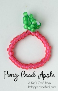 Pony Bead Apple Craft for Kids
