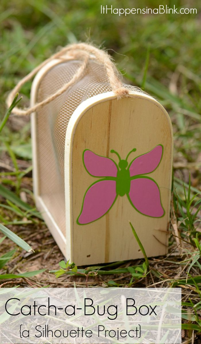 Catch-a-Bug Box {a Silhouette Project}  |  Customize an unfinished bug box with a Silhouette machine and outdoor vinyl