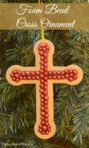 Foam Bead Cross Ornament | AD Make a simple cross ornament. Christmas DIY Craft