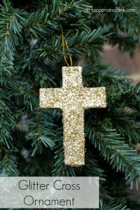 Glitter Cross Christmas Ornament | Make a sparkly faith inspired addition to your Christmas tree