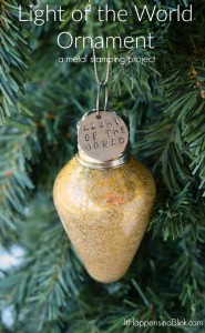 Light of the World Light Bulb Christmas Ornament | metal stamping and a few simple craft supplies come together to create an inspirational, faith based DIY Christmas ornament