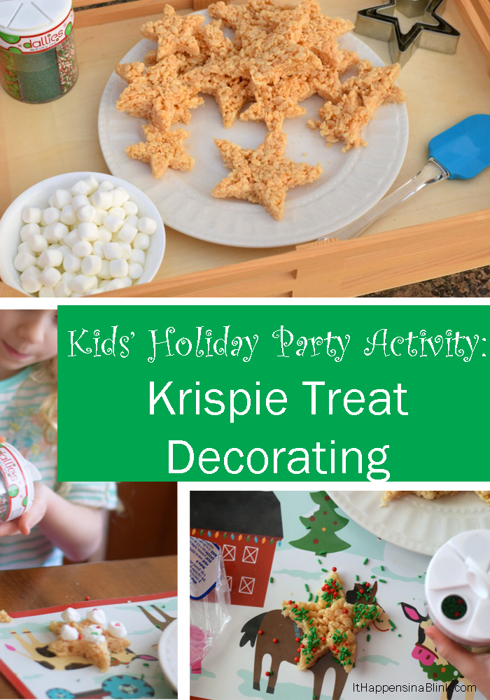 Krispie Treat Decorating Activity for the Kids' Holiday Table | AD | Make a big batch of Krispie treats and let the kids decorate them at the Christmas party