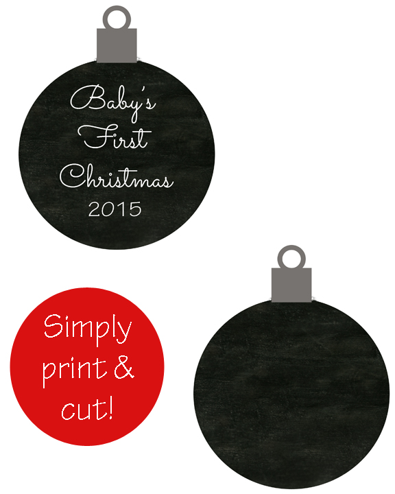 Baby's First Christmas 2015 Printable Ornament | Simply print and cut this to use as an ornament or a gift wrapping embellishment