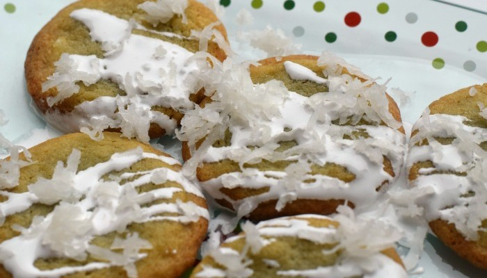 Snow Capped Cookies for Santa | AD #SweetenTheSeason | Use coconut and a marshmallow creme glaze to make cookies for Santa