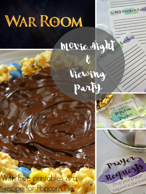 War Room Movie Night and Viewing Party | AD #MakeItAMovieNight | War Room themed movie night, with a recipe for popcorn pie and free prayer themed printables