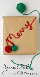 Yarn Christmas Wrapping | Use yarn scraps to embellish festive Christmas gifts for the crochet or knit yarn lover in your life. This is an easy DIY gift wrapping tutorial.