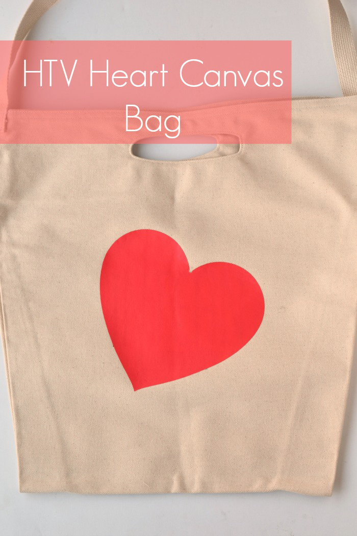 HTV Heart Canvas Bag | Covering Up Print with Heat Transfer Vinyl