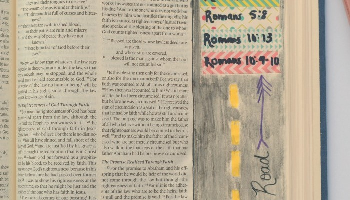 Roman's Road Bible Journaling Page   Keep the verses to the Roman's Road always handy with this Bible Journaling page idea