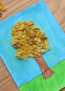 Cereal Flake Tree Craft for Kids AD #CerealAnytime Use cereal flakes to make a tree craft