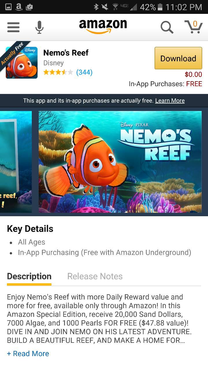 Nemo's Reef Amazon Underground App AD
