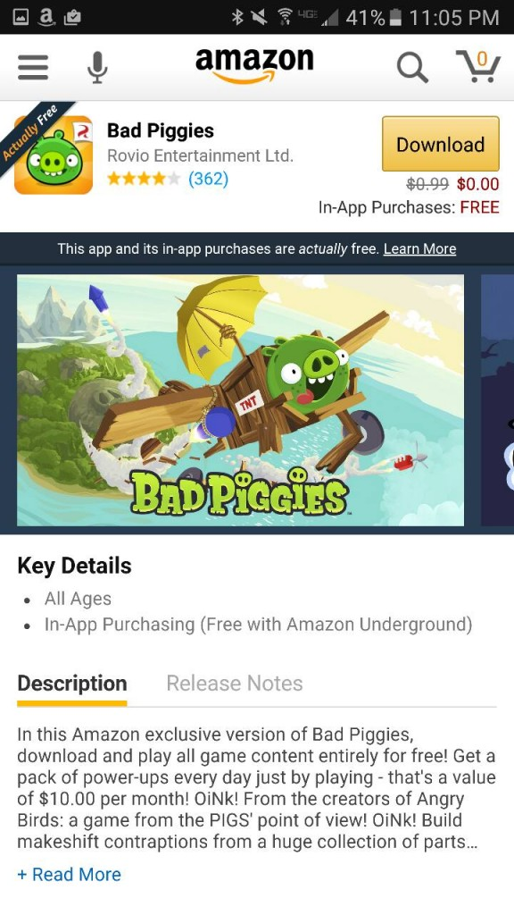 Bad Piggies Amazon Underground App AD