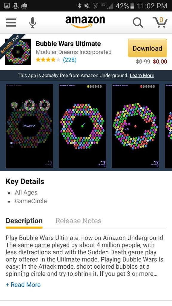 Bubble Wars Ultimate Amazon Underground App AD