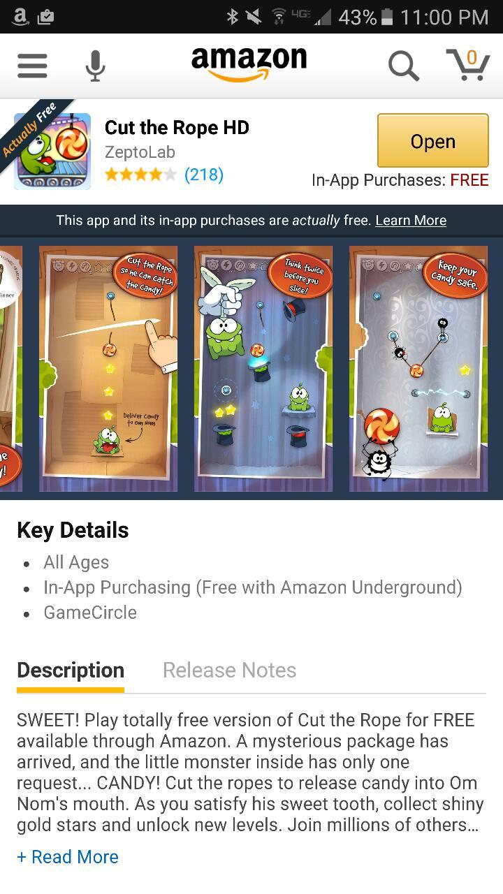 Cut the Rope Amazon UNderground App AD