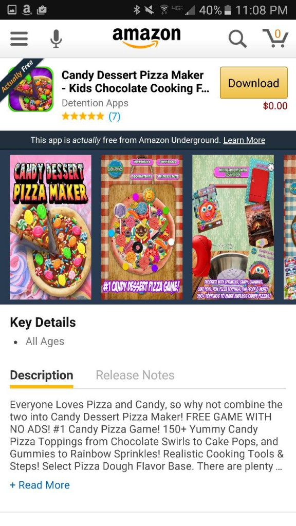 Candy Dessert Pizza Maker Amazon Underground App AD