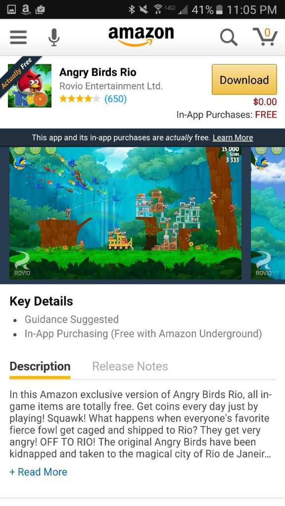Angry Birds Rio Amazon Underground App AD