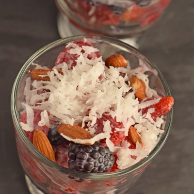 Berry Fruit Salad #FreschEats AD Combine fresh berries and coconut flavors for a twist on fruit salad