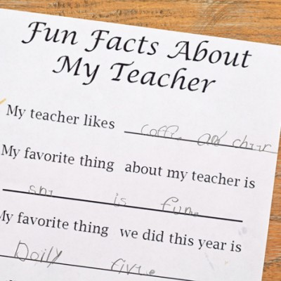 Fun facts about my teacher free printable for teacher appreication