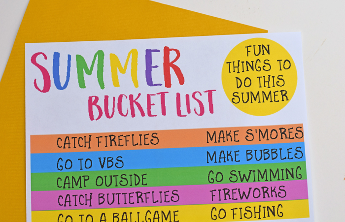 Free Summer Bucket List Printable with fun things to do this summer