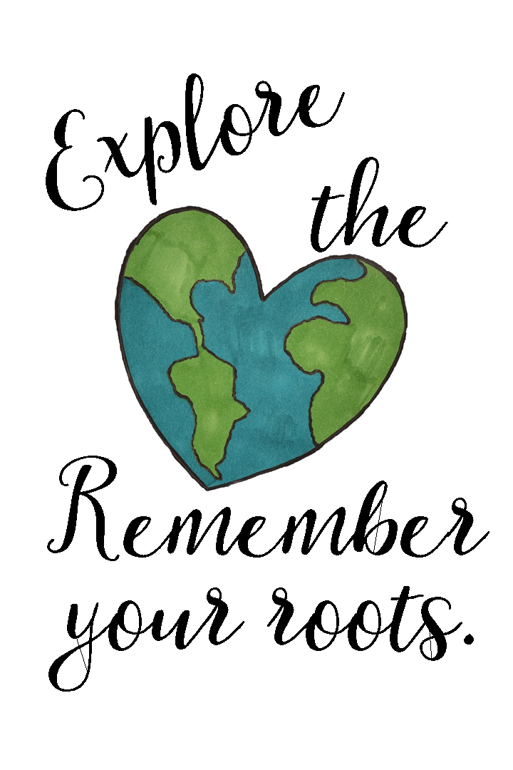Explore the World. Remember Your Roots free printable for decor or a graduation card, etc. AD