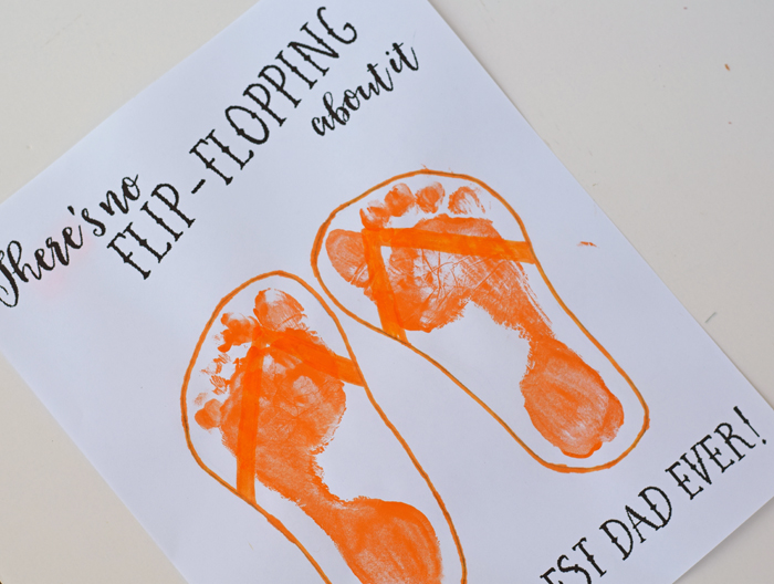 Flip Flop Father's Day Printable and Kid's Craft | Cute footprint art for Father's Day