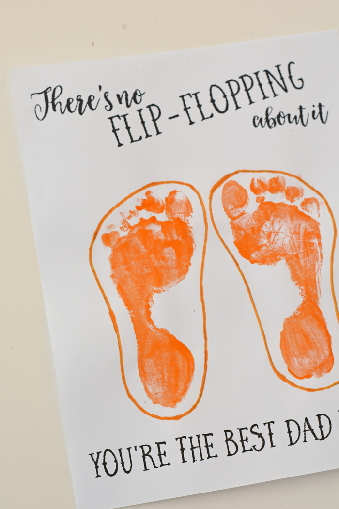 Flip Flop Father's Day Printable and Kid's Craft   Cute footprint art for Father's Day