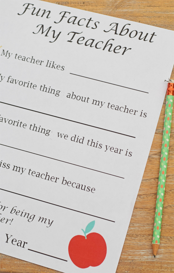 Fun facts about my teacher free printable for teacher appreciation