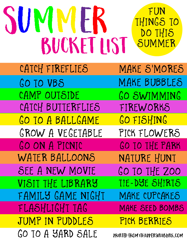 Summer Bucket List FREE Printable | A fun list of things to do this summer!