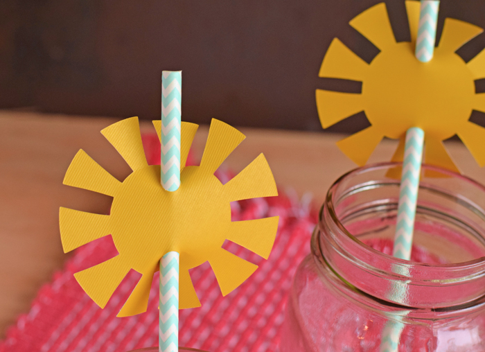 Sunshine Straw Toppers made with the Silhouette machine. Fun for a summer themed party!
